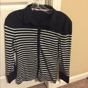 Tops - Marc Cain black and white stripped blouse